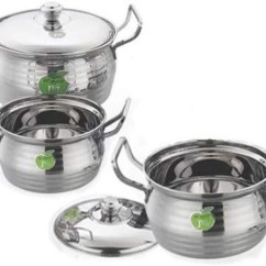Kitchen Vessels Set Home Depot Kitchens Jvl Stainless Steel Cooking Armor Pot Dish Vessel Silver Touch Design 3 Pcs