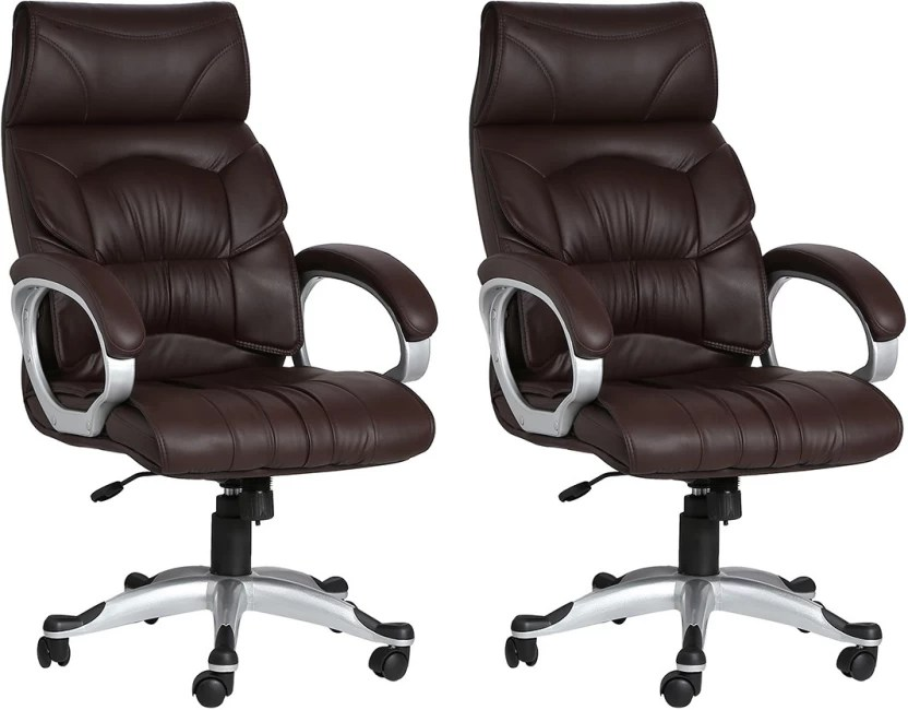 office chair price folding rental vancouver vj interior leatherette arm in india buy brown set of 2