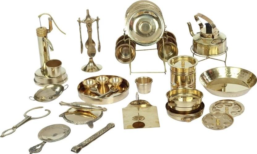 kitchen miniature personalized gifts desi toys 42 pieces brass pretend play set pital ka khel