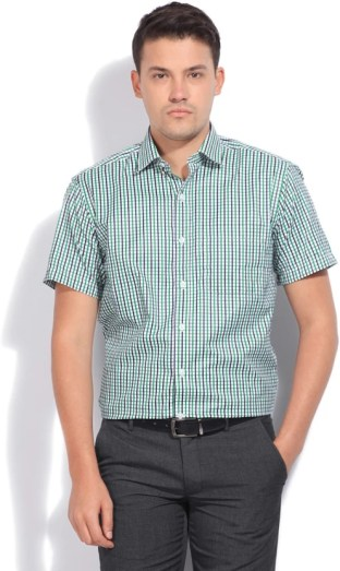 John Players Men's Checkered Casual White, Blue, Green Shirt