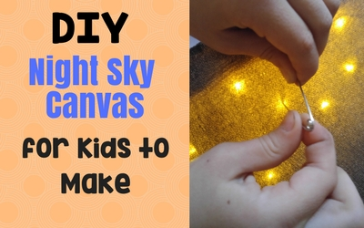 #DIY Night Sky Canvas for Kids to Make. Adorable, engaging and fun! This canvas creation is a great science and art activity for preschool, elementary and older kids. They can learn about the moon and stars and astronomy.