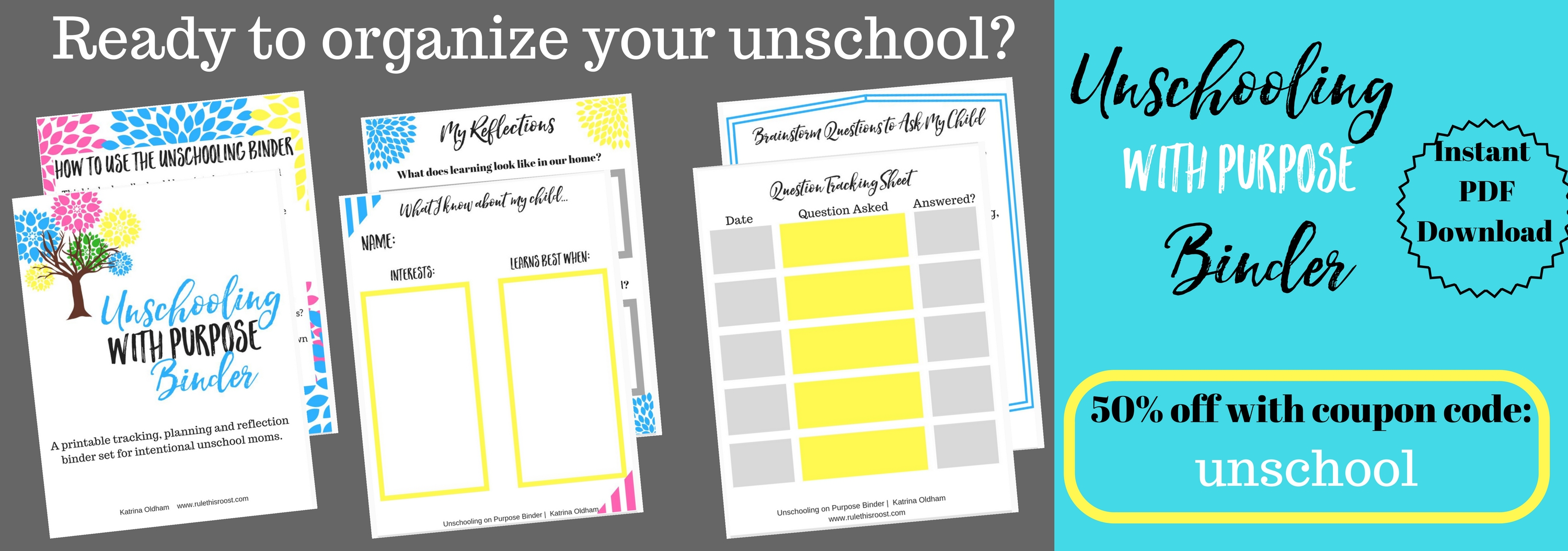 unschool with purpose binder set