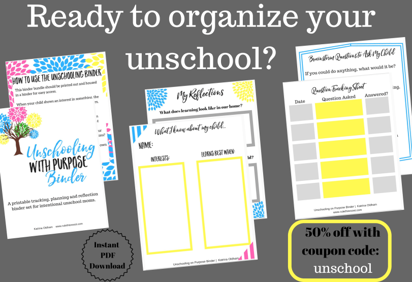 Unschooling with Purpose Binder set. Organize your unschool.
