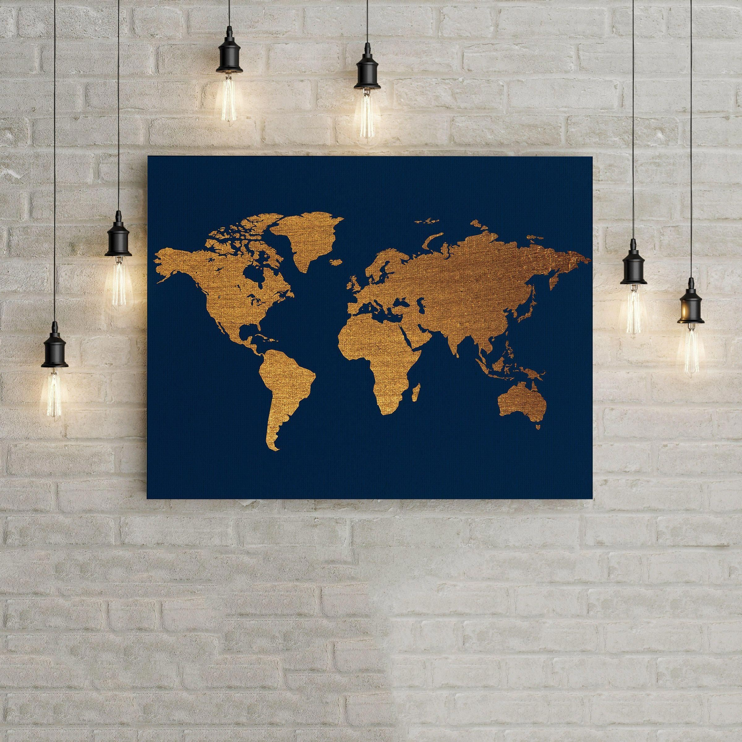 World Map Blue and Gold Home Decor Wall Art Poster fice Decor fice Wall Art