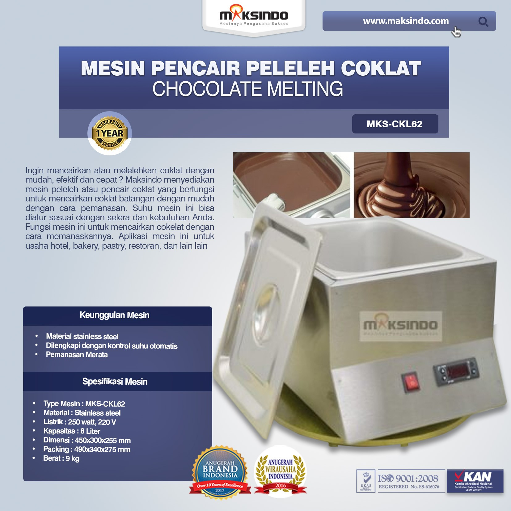 Mesin Pencair Peleleh Coklat CKL62 – Chocolate MELTING