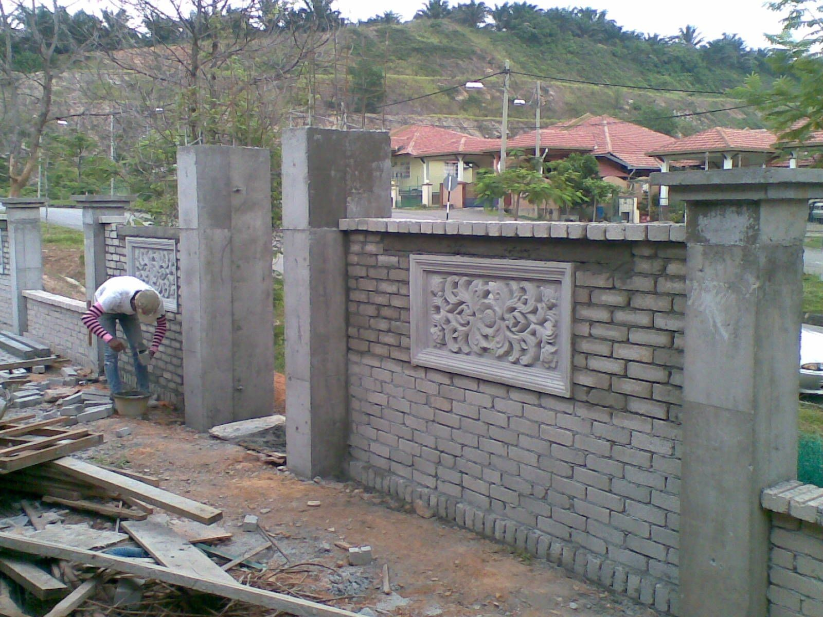 brickwall fence and bali style entrance