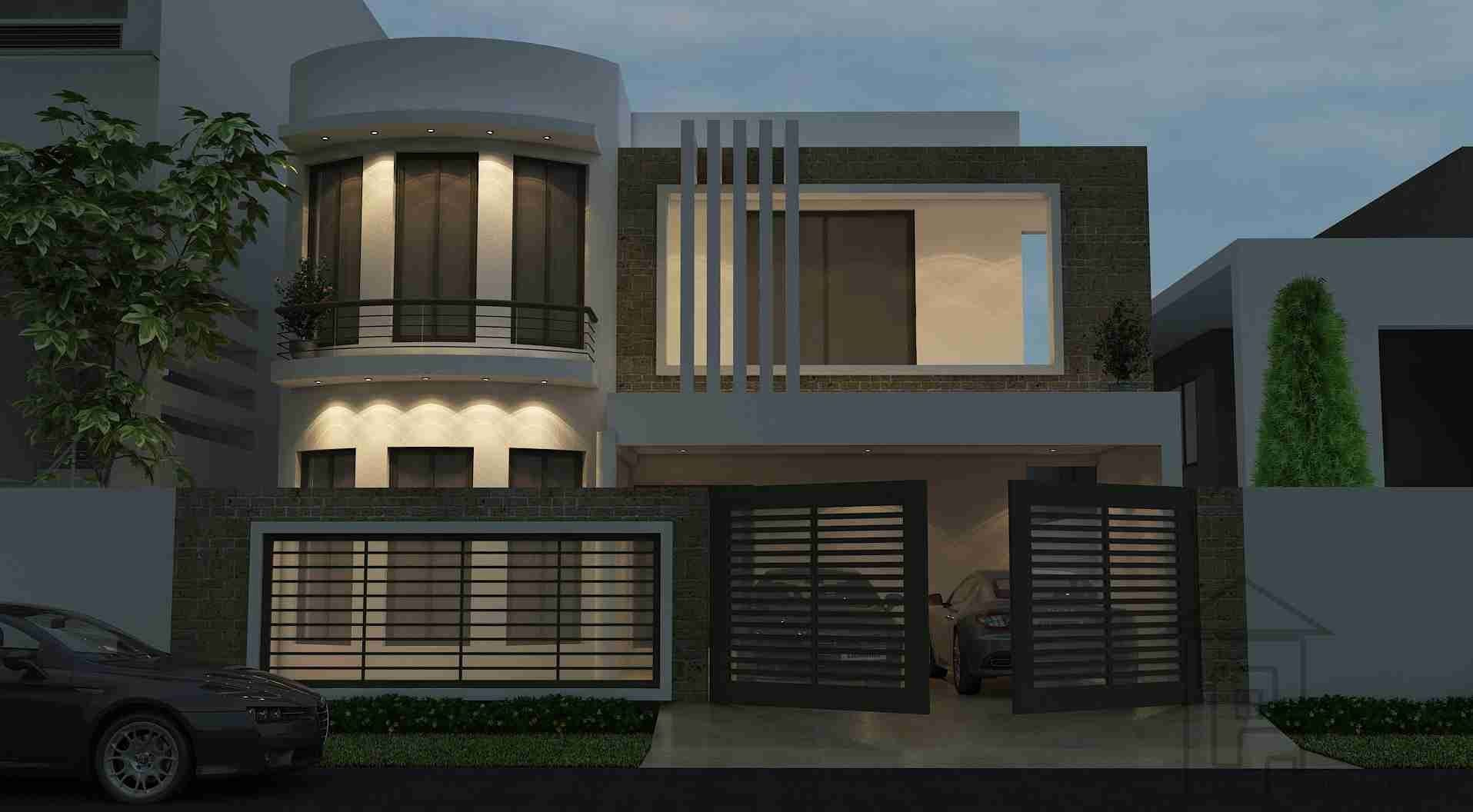10 Marla house with front elevation and layout plans has 4 bedrooms and 4 attached bathrooms