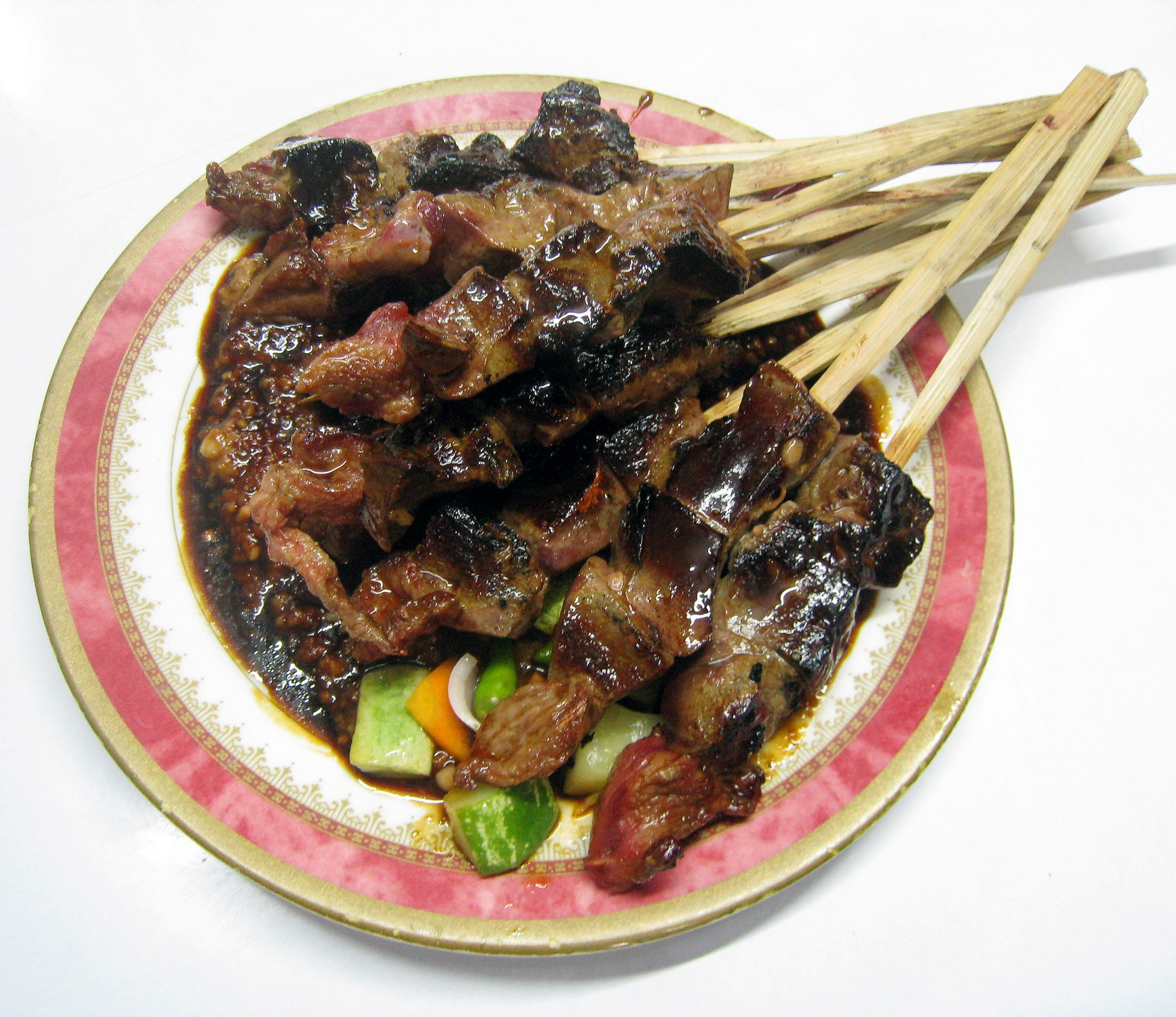 The goat liver satay in a satay restaurant at Jalan Sabang Central Jakarta The