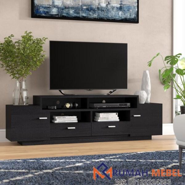 Meja TV Kayu Jati Minimalis Black Aston