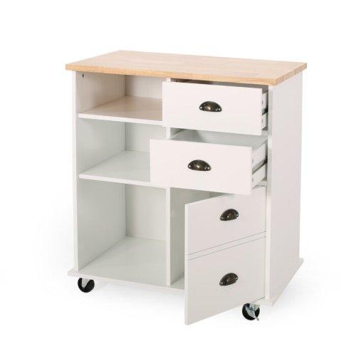 Meja Dorong Minimalis Putih