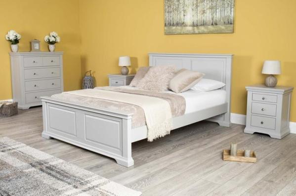 Tempat Tidur Kayu Minimalis Westcott Grey Queen