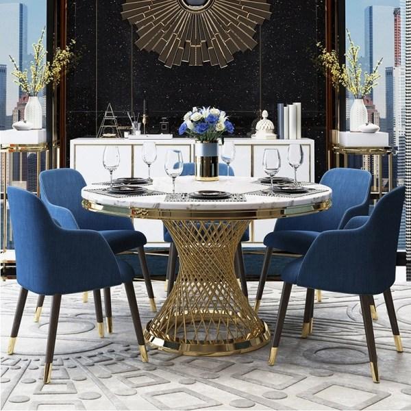 Meja Makan Bulat Stainless Modern With Marmer