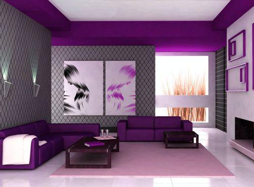 Ide Padupadan Warna Ungu Pada Interior Ruang Tamu Kecil