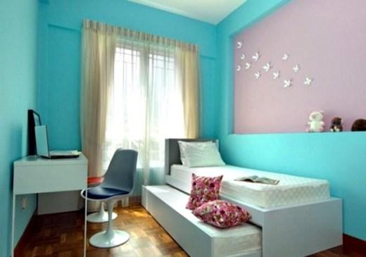 Kamar Tidur Anak Perempuan Sederhana Warna Biru