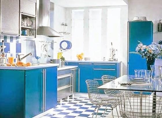 Motif Keramik Dapur Perpaduan warna biru - Pilihan Motif Keramik Lantai dan Dinding Dapur Modern Minimalis