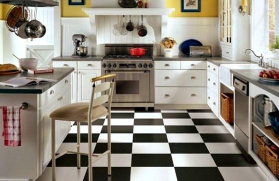 Motif Keramik Lantai Dapur hitam dan putih - Model dan Desain Dapur Rumah Minimalis Rapi dan Bersih