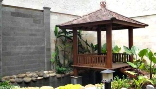 Taman rumah minimalis dengan gazebo 1