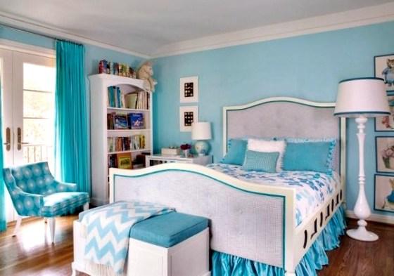 Warna Cat Dinding Anak Perempuan Biru - Warna Cat Dinding dan Desain Interior untuk Kamar Anak Perempuan Modern