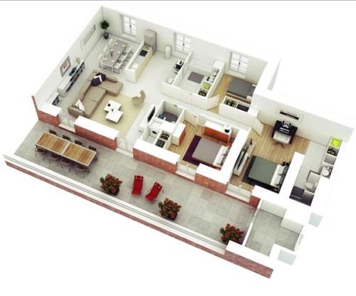 Denah Rumah Minimalis 3 Kamar Tidur 1 Lantai 3 - 21 Contoh Denah Rumah Minimalis 3 Kamar Tidur 1 dan 2 Lantai