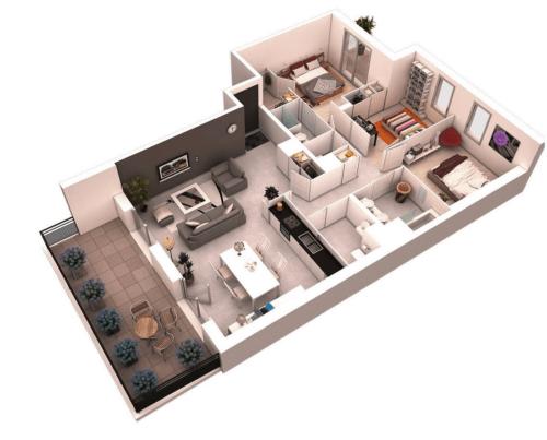 Denah Rumah Minimalis 1 Lantai 3 Kamar Tidur 12