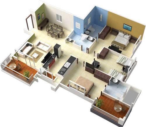 Denah Rumah Minimalis 1 Lantai 3 Kamar Tidur 9