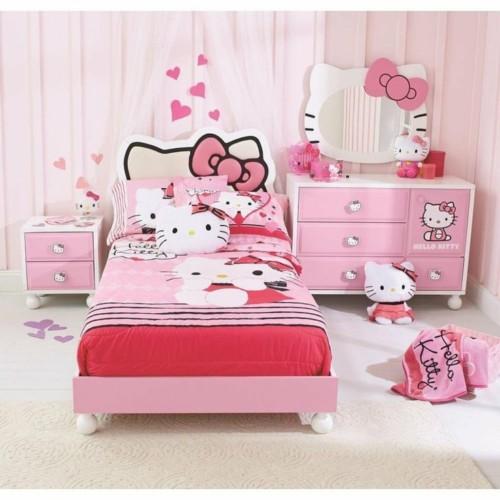 Desain Kamar Tidur Anak Perempuan Hello Kitty 6 - 22 Desain Kamar Tidur Anak Perempuan Frozen, Hello Kitty, Barbie