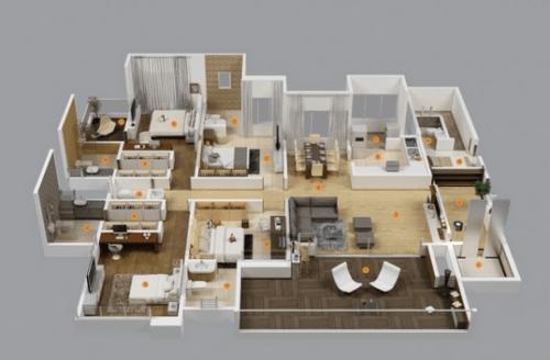 Denah Rumah Mewah 1 Lantai 4 Kamar Tidur Minimalis