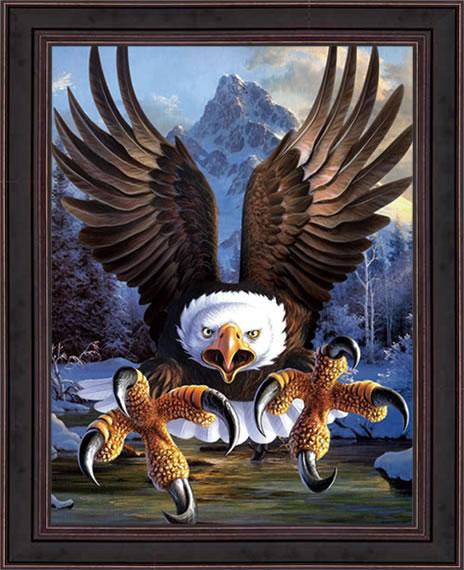 Lukisan 3D Burung Elang - 20 Gambar Lukisan Dinding Ruangan 3D Pemandangan Alam dan Hewan