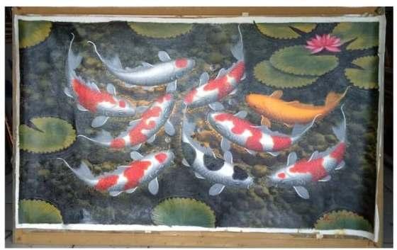lukisan ikan koi jumbo - 20 Gambar Lukisan Dinding Ruangan 3D Pemandangan Alam dan Hewan