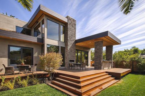 Rumah dua lantai dengan batuan alam 2 - Cara Terbaik Desain Rumah Minimalis 2 Lantai di Lahan Sempit
