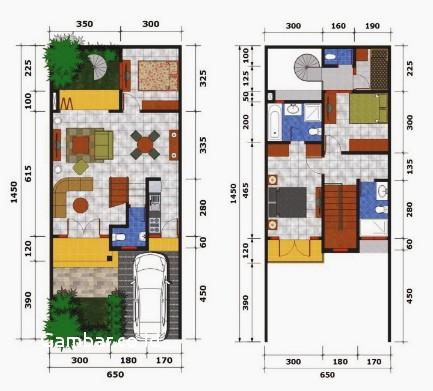 11 model denah rumah 2 lantai ukuran 6x12 meter terbaru 2018