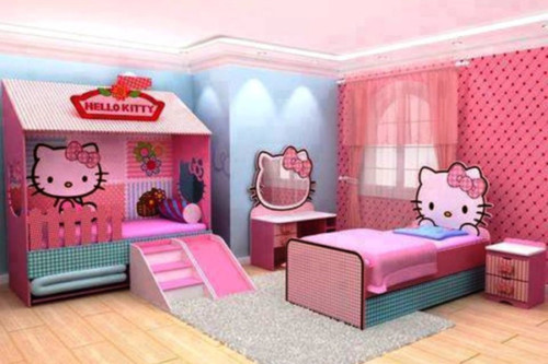 Desain Gambar Kamar Tidur Hello Kitty Anak Perempuan 15 - 25 Desain Gambar Kamar Tidur Hello Kitty Anak Perempuan