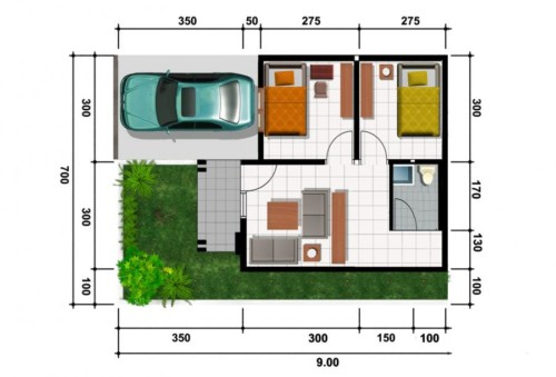 Denah Rumah Minimalis Type 21 3 - 16 Desain Rumah Minimalis Type 21 Kecil dan Mungil