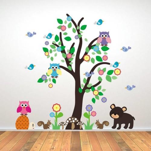 stiker dinding hewan pohon - 12 Desain Stiker Dinding Lucu Kamar Anak Jadi Ceria
