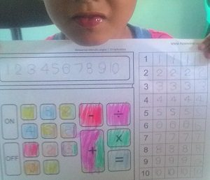 Mewarnai gambar kalkulator dan Latihan Menulis angka 1 10