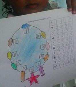 Mewarnai gambar kalung dan menulis angka 1 10