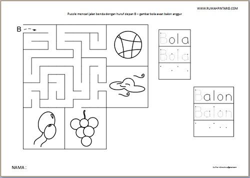 Puzzle Maze huruf depan B untuk anak gambar bola awan balon anggur
