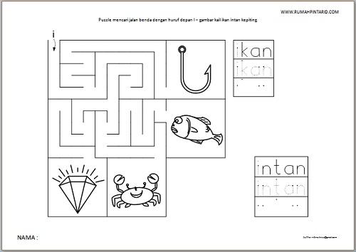 Puzzle Maze huruf depan I untuk anak gambar kail ikan intan kepiting