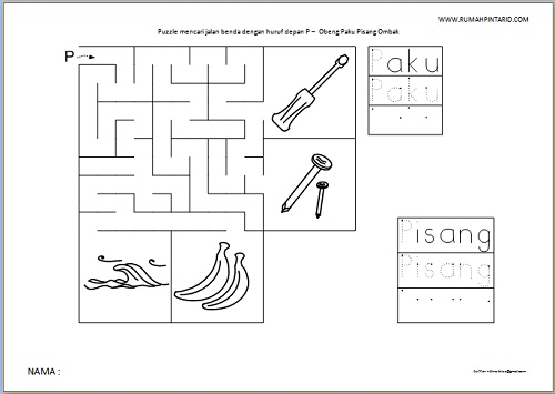 Puzzle Maze huruf depan P untuk anak Obeng Paku Pisang Ombak