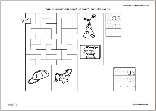 Puzzle Maze huruf depan V untuk anak Vas Tembok Virus Topi