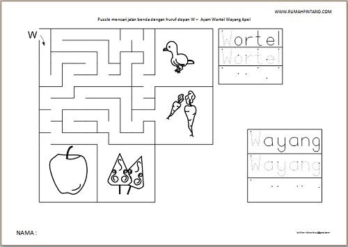 Puzzle Maze huruf depan W untuk anak Ayam Wortel Wayang Apel