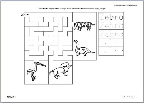 Puzzle Maze huruf depan Z untuk anak Zebra Dinosaurus Anjing Bangau