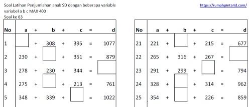 soal latihan mandiri matematika penjumlahan