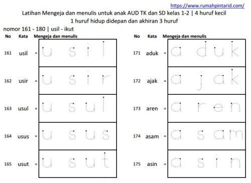 Latihan membaca kata akhiran 3 huruf 161-180