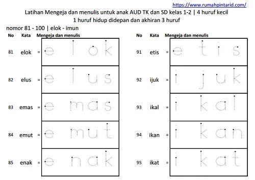 Latihan membaca kata akhiran 3 huruf 81-100