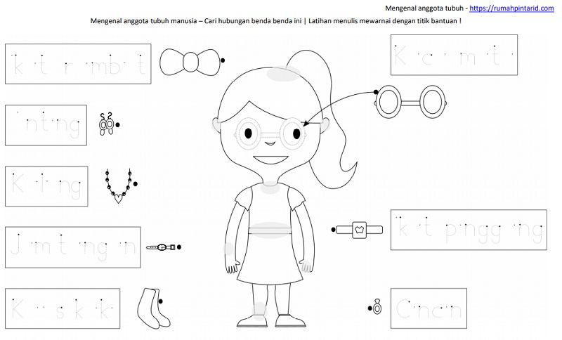 2 lembar belajar anak TK SD - mengenal anggota tubuh dan cari hubungannya
