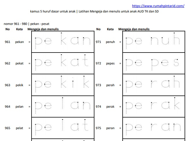 Belajar Menulis Huruf dengan Huruf Titik Titik 7