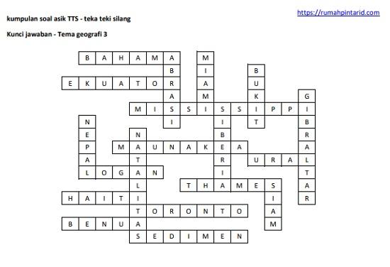 kunci jawaban contoh soal teka teki silang TTS tema geografi