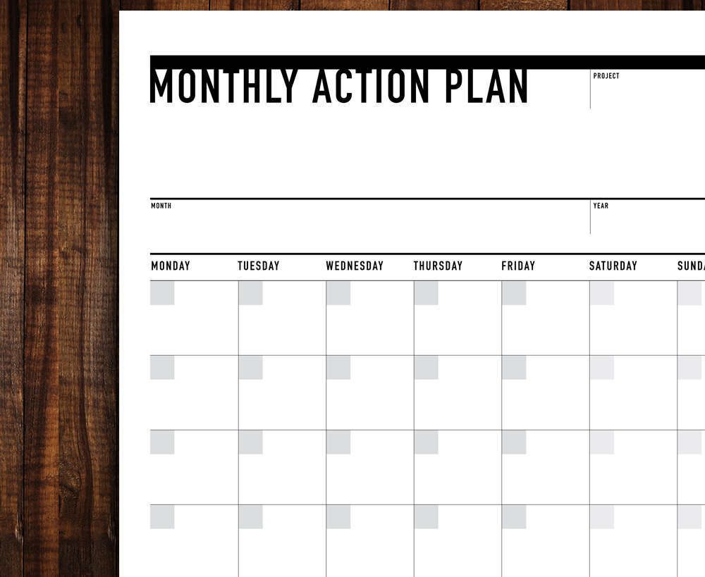 Printable Monthly Action Planner Agenda Portrait – Printable Monthly Planner