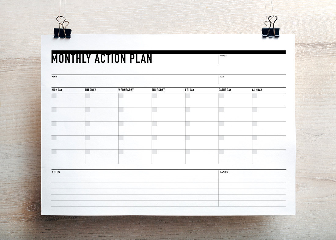 Printable Monthly Action Planner / Agenda (landscape ...